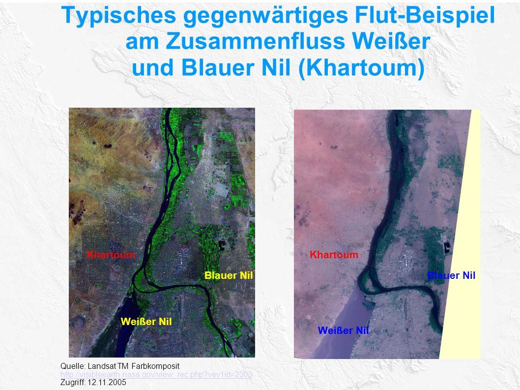 Typisches gegenwärtiges Flut-Beispiel am Zusammenfluss Weißer und Blauer Nil (Khartoum)