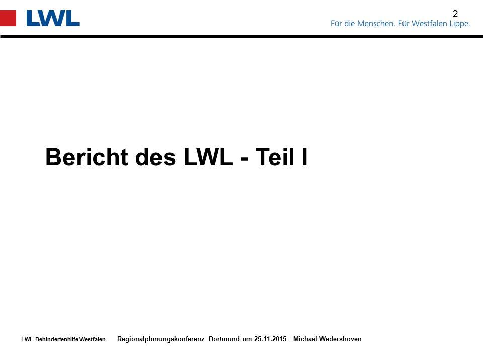 Bericht des LWL - Teil I Regionalplanungskonferenz Dortmund am 25.11.2015 - Michael Wedershoven