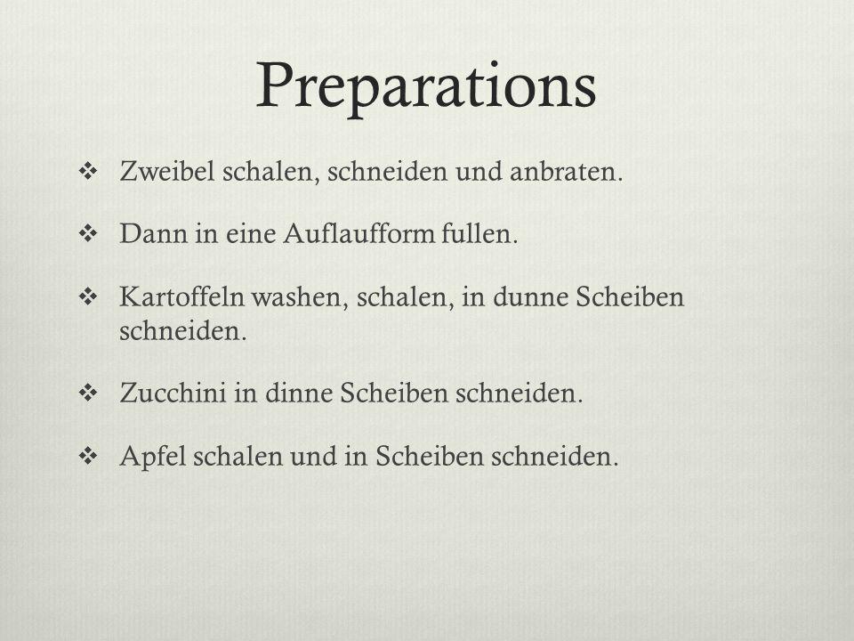 Preparations Zweibel schalen, schneiden und anbraten.