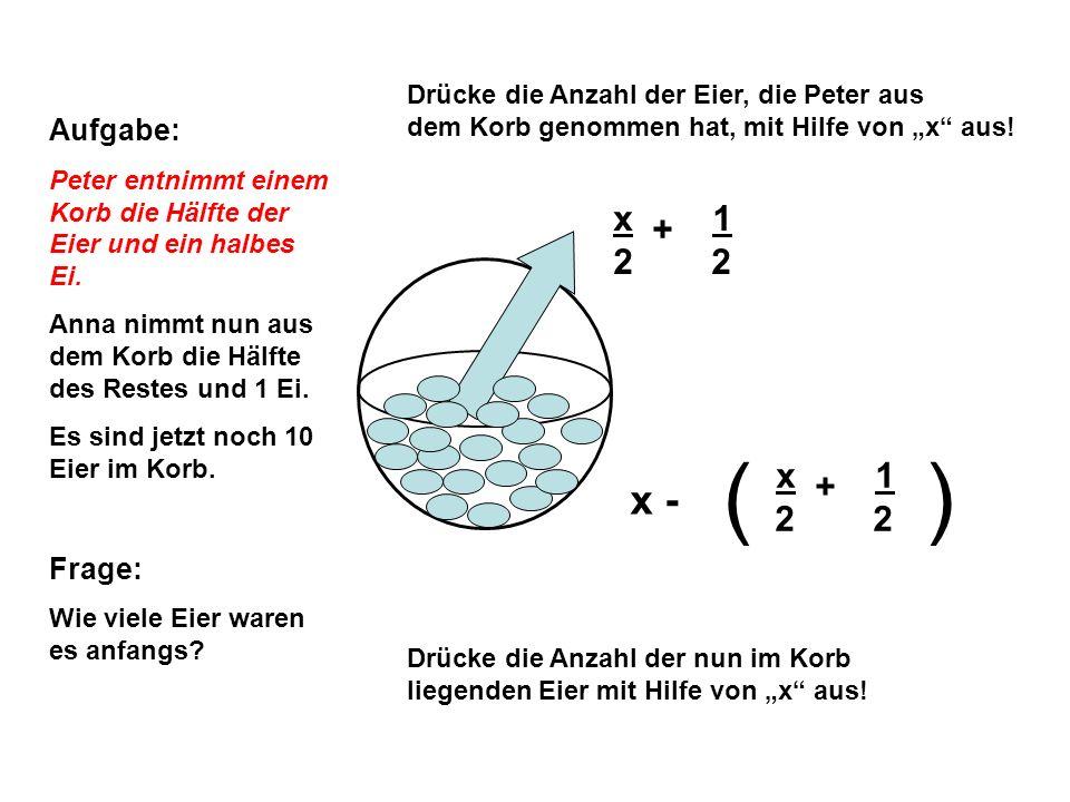 ( ) x + 1 2 2 x - x + 1 2 2 Aufgabe: Frage: