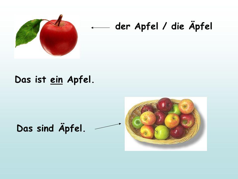 der Apfel / die Äpfel Das ist ein Apfel. Das sind Äpfel.