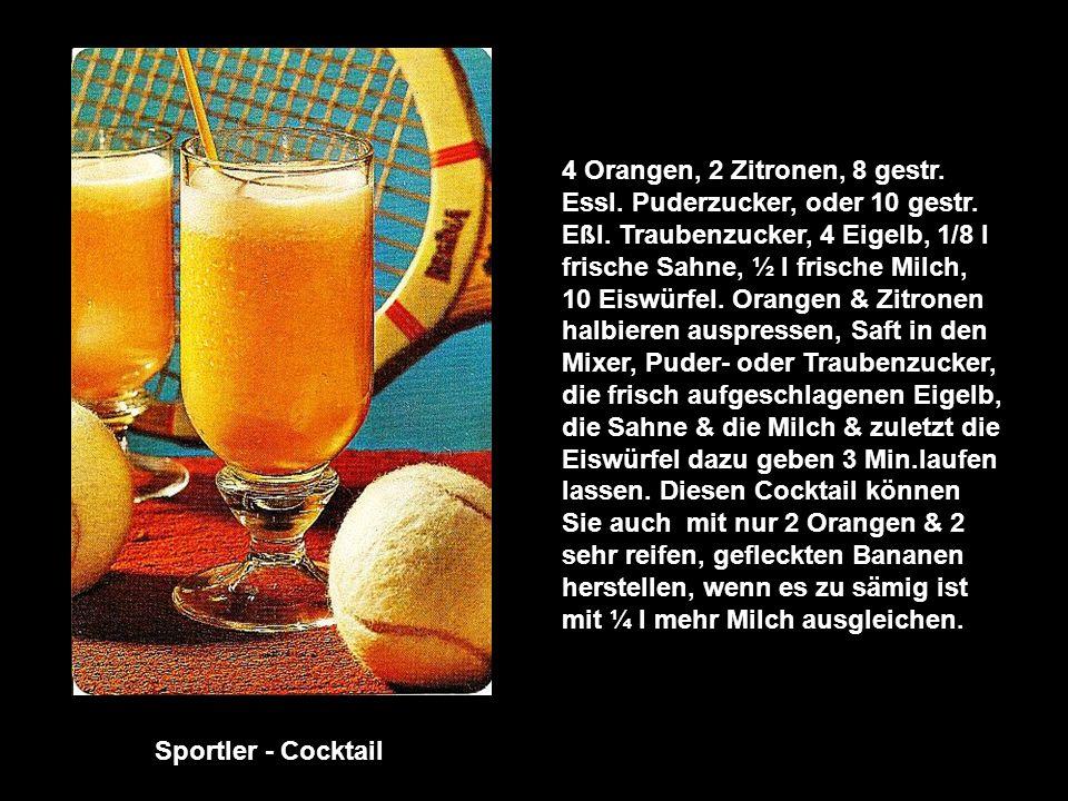 4 Orangen, 2 Zitronen, 8 gestr. Essl. Puderzucker, oder 10 gestr. Eßl