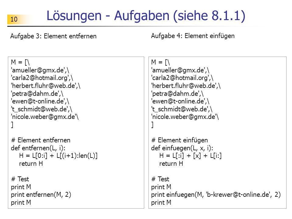Lösungen - Aufgaben (siehe 8.1.1)