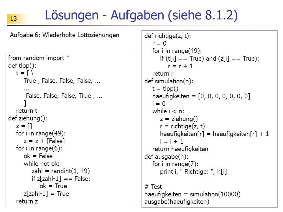 Lösungen - Aufgaben (siehe 8.1.2)