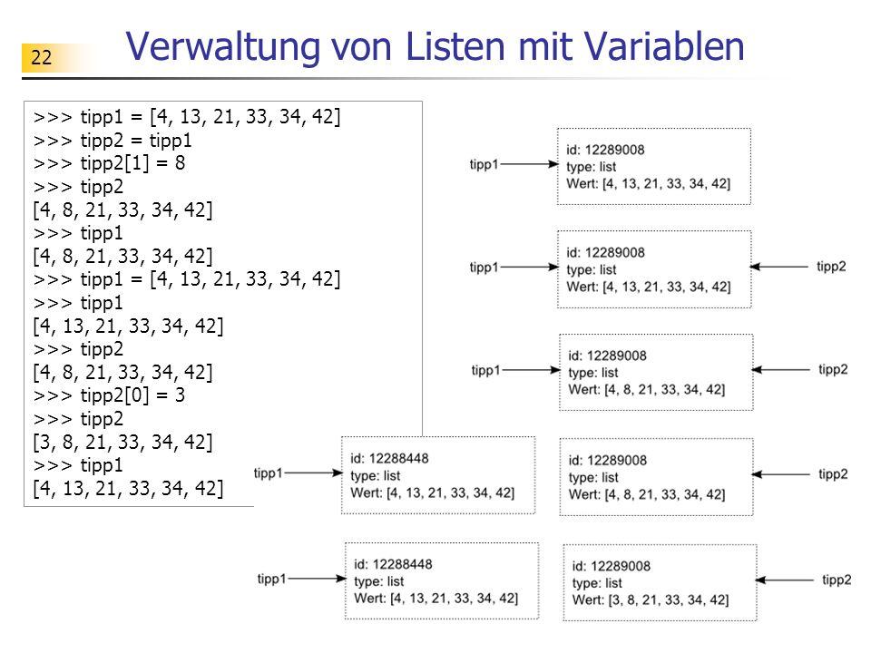 Verwaltung von Listen mit Variablen