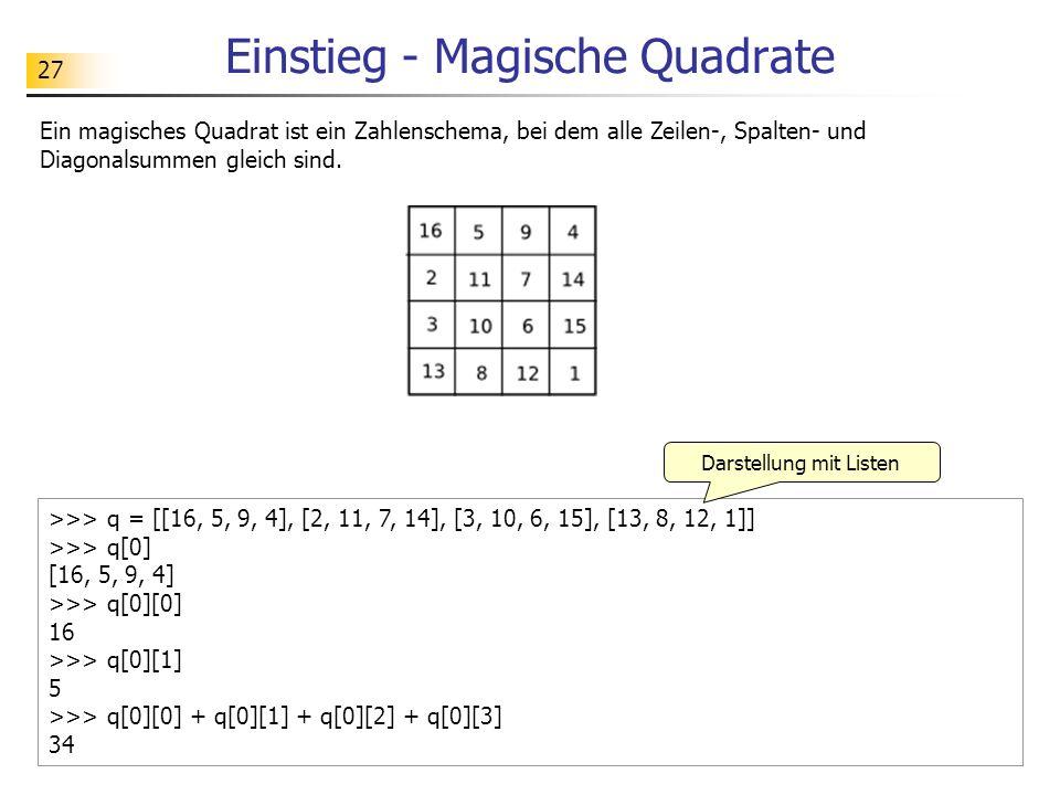 Einstieg - Magische Quadrate