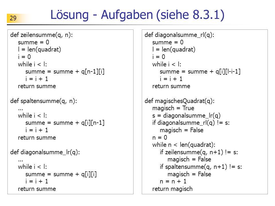 Lösung - Aufgaben (siehe 8.3.1)