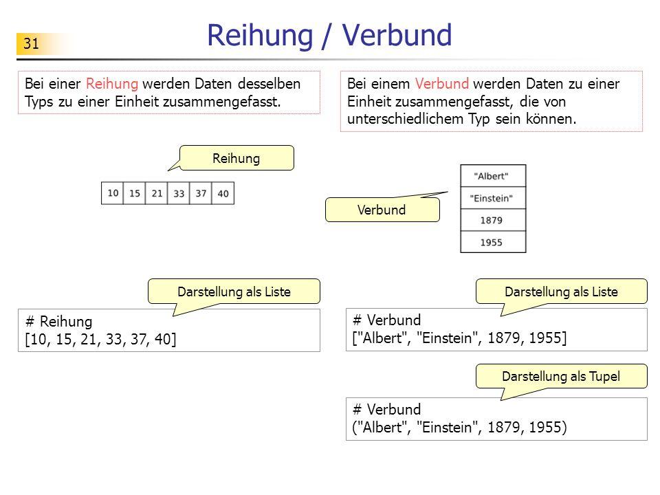 Reihung / Verbund Bei einer Reihung werden Daten desselben Typs zu einer Einheit zusammengefasst.