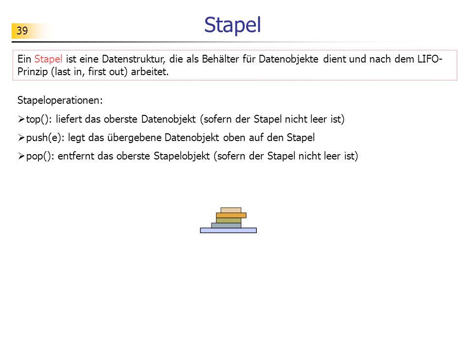 Stapel Ein Stapel ist eine Datenstruktur, die als Behälter für Datenobjekte dient und nach dem LIFO-Prinzip (last in, first out) arbeitet.