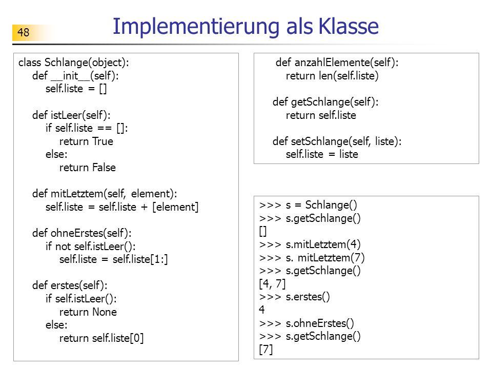 Implementierung als Klasse