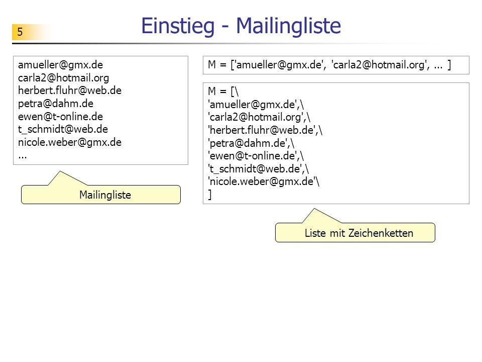 Einstieg - Mailingliste