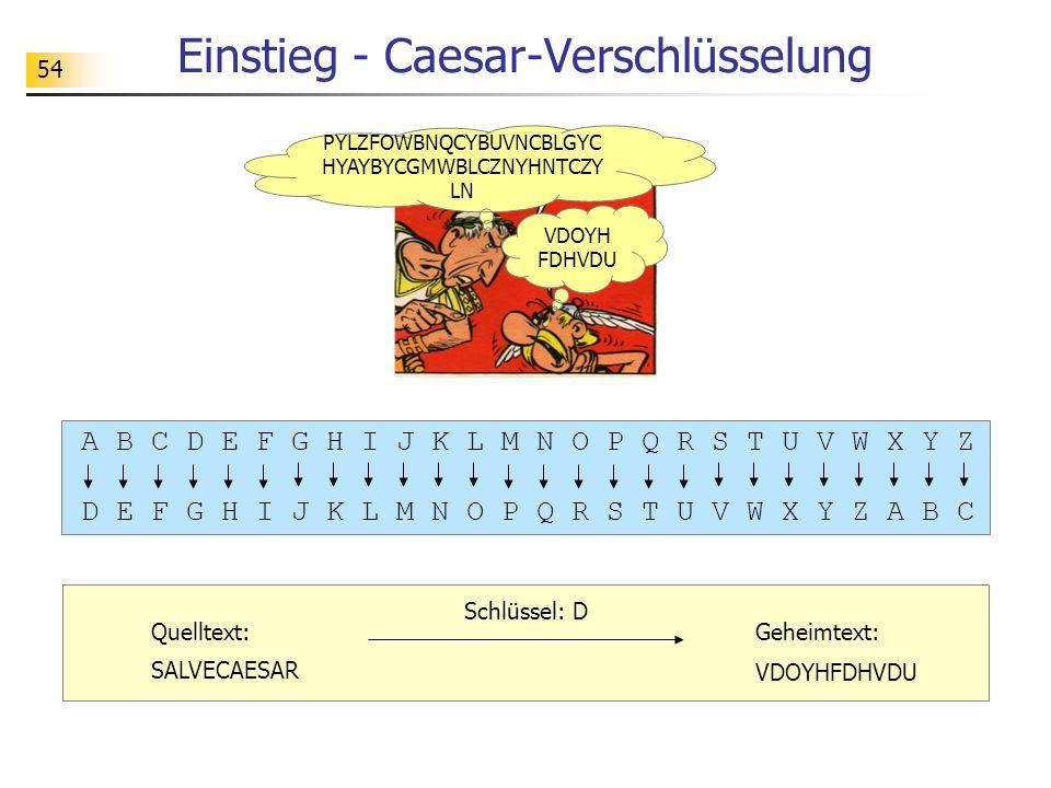 Einstieg - Caesar-Verschlüsselung