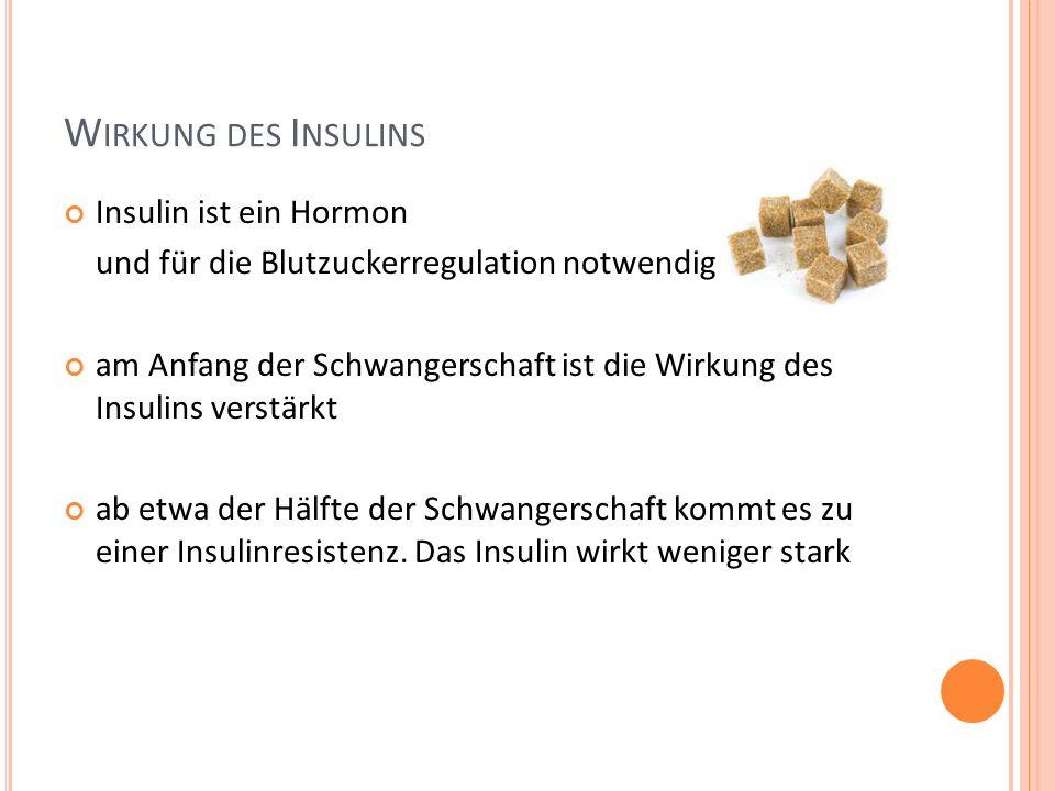 Wirkung des Insulins Insulin ist ein Hormon