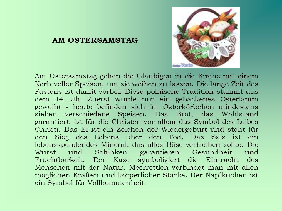AM OSTERSAMSTAG