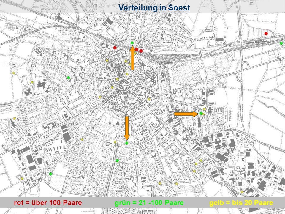 Verteilung in Soest Verteilung in Soest rot = über 100 Paare