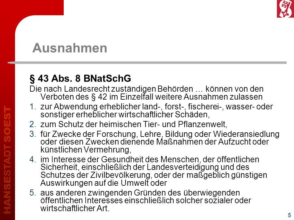 Ausnahmen § 43 Abs. 8 BNatSchG