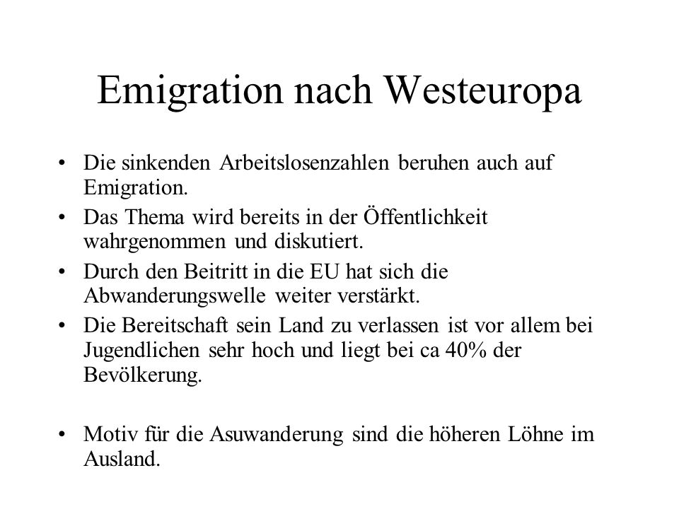 Emigration nach Westeuropa