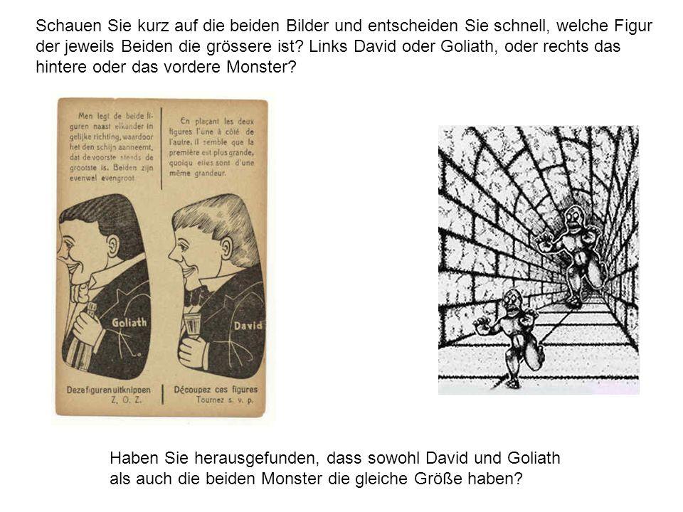 Schauen Sie kurz auf die beiden Bilder und entscheiden Sie schnell, welche Figur der jeweils Beiden die grössere ist Links David oder Goliath, oder rechts das hintere oder das vordere Monster