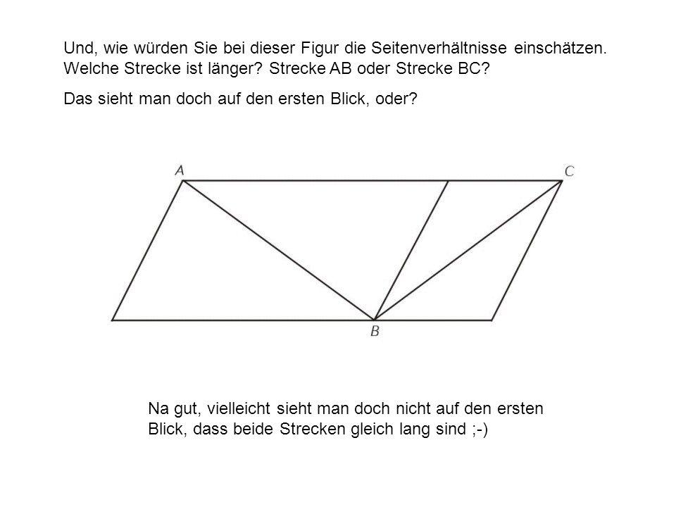 Und, wie würden Sie bei dieser Figur die Seitenverhältnisse einschätzen. Welche Strecke ist länger Strecke AB oder Strecke BC
