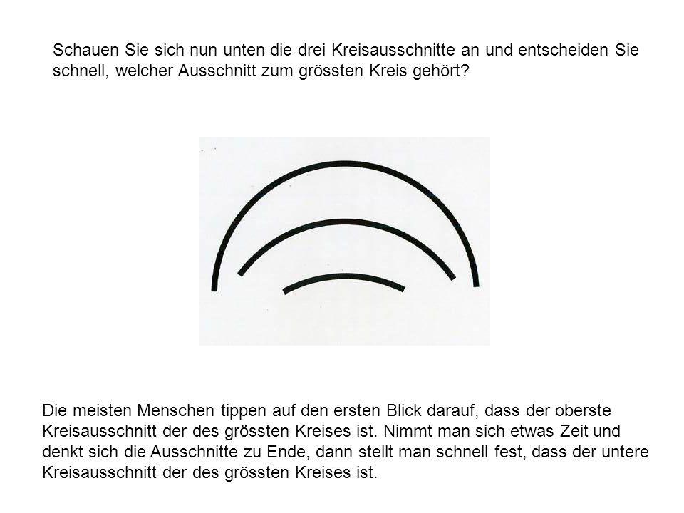 Schauen Sie sich nun unten die drei Kreisausschnitte an und entscheiden Sie schnell, welcher Ausschnitt zum grössten Kreis gehört