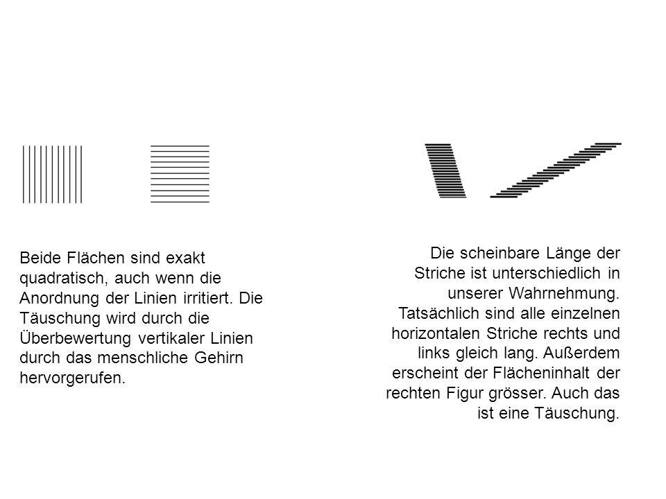 Die scheinbare Länge der Striche ist unterschiedlich in unserer Wahrnehmung. Tatsächlich sind alle einzelnen horizontalen Striche rechts und links gleich lang. Außerdem erscheint der Flächeninhalt der rechten Figur grösser. Auch das ist eine Täuschung.
