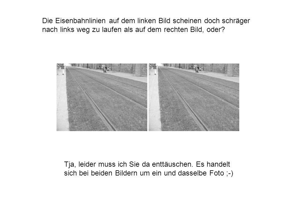 Die Eisenbahnlinien auf dem linken Bild scheinen doch schräger nach links weg zu laufen als auf dem rechten Bild, oder