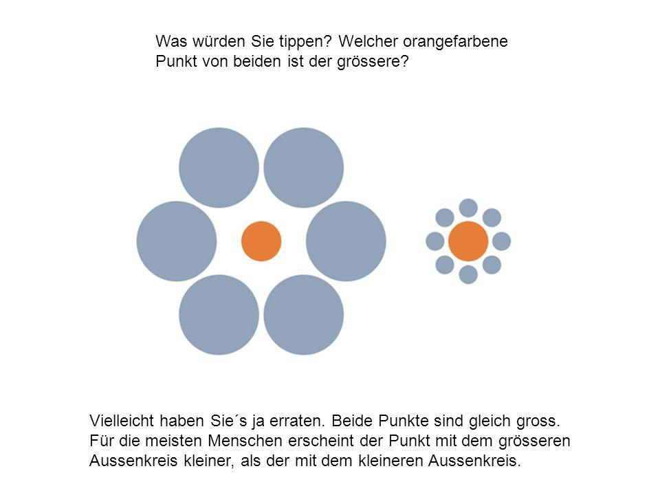 Was würden Sie tippen Welcher orangefarbene Punkt von beiden ist der grössere