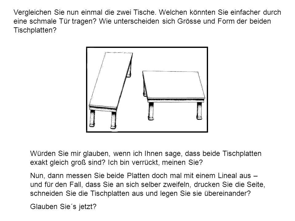 Vergleichen Sie nun einmal die zwei Tische