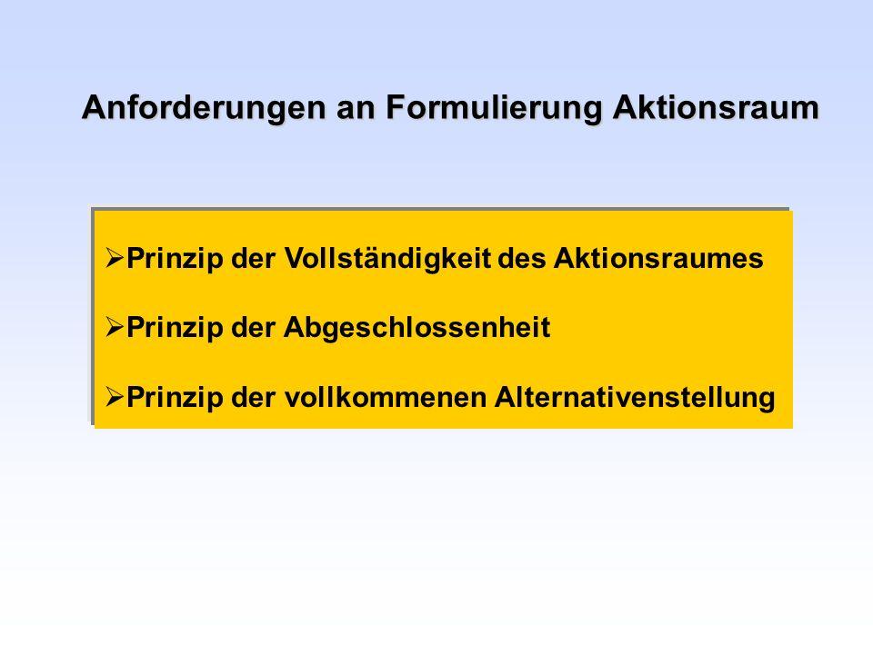 Anforderungen an Formulierung Aktionsraum