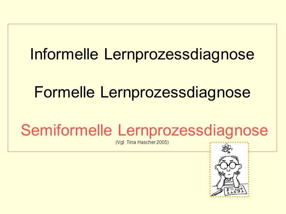 Informelle Lernprozessdiagnose Formelle Lernprozessdiagnose Semiformelle Lernprozessdiagnose (Vgl.