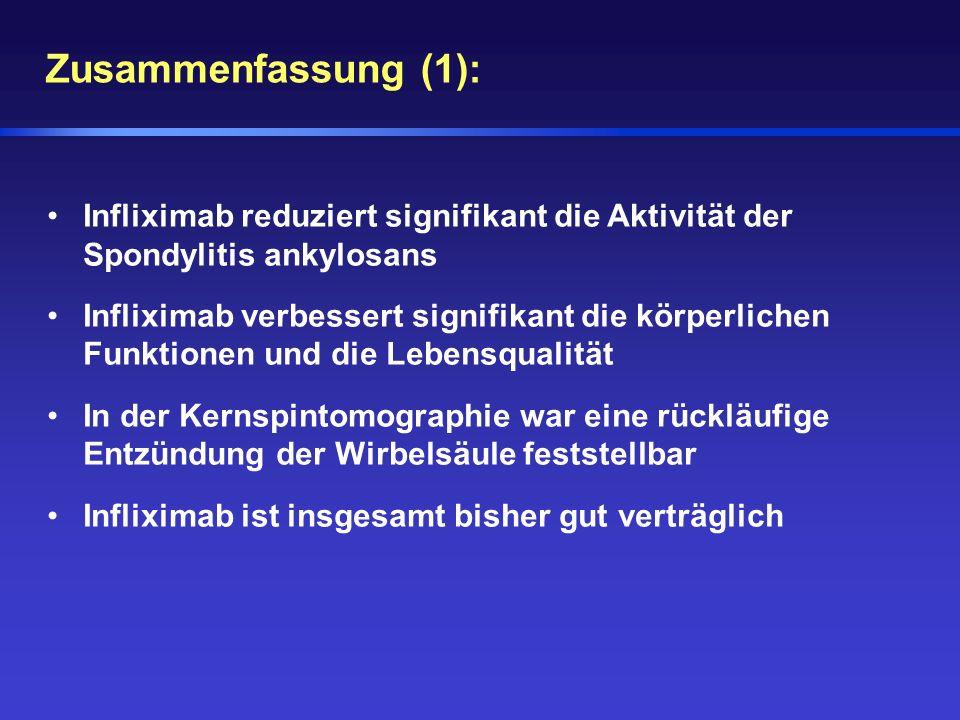 Zusammenfassung (1): Infliximab reduziert signifikant die Aktivität der Spondylitis ankylosans.