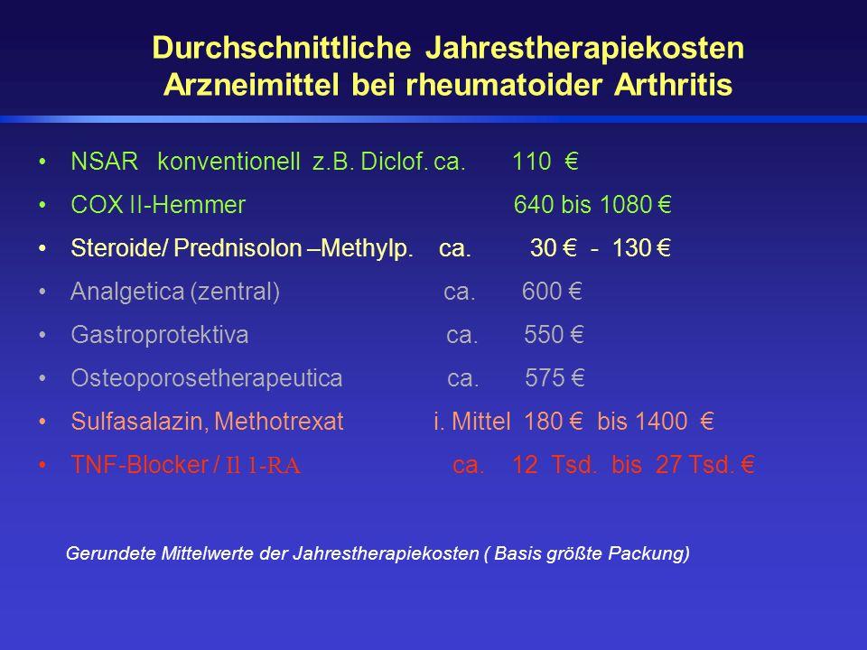 Durchschnittliche Jahrestherapiekosten Arzneimittel bei rheumatoider Arthritis