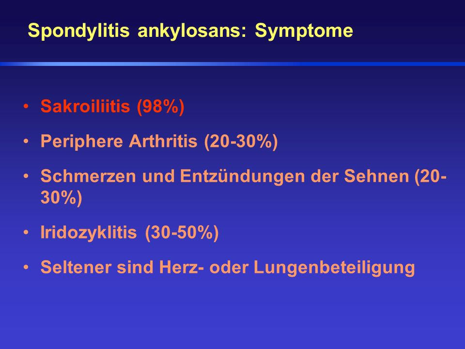 Spondylitis ankylosans: Symptome