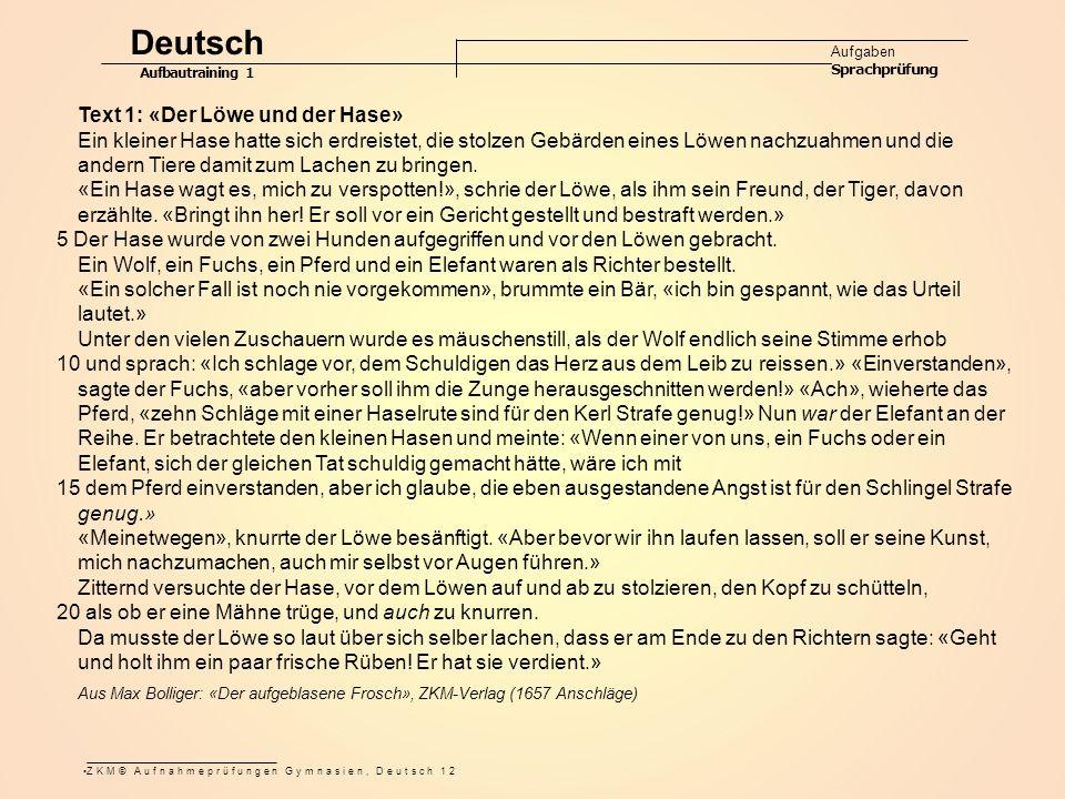 Deutsch Text 1: «Der Löwe und der Hase»