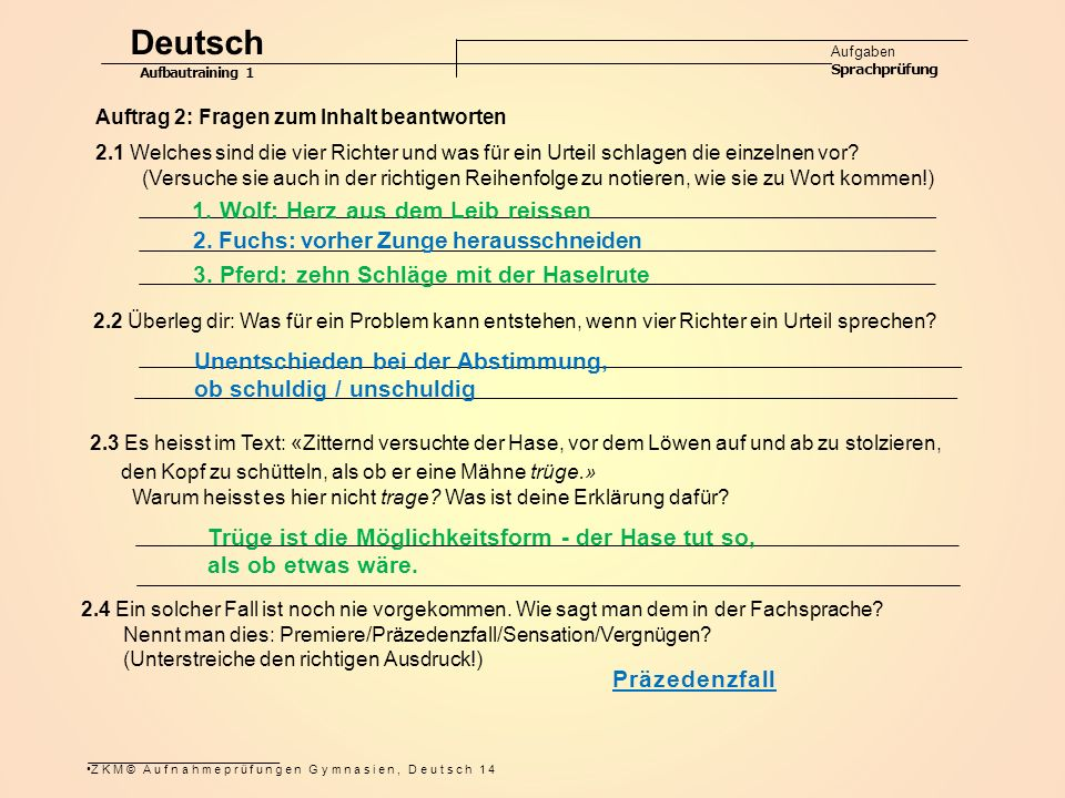 Deutsch 1. Wolf: Herz aus dem Leib reissen