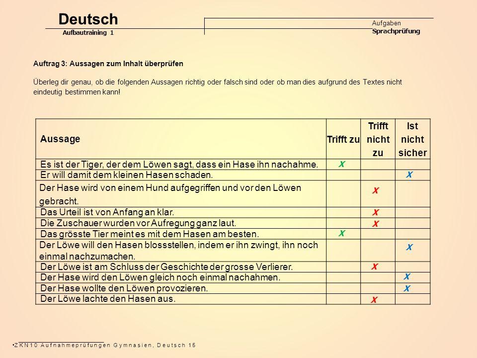 Deutsch Aussage Trifft zu Trifft nicht zu Ist nicht sicher