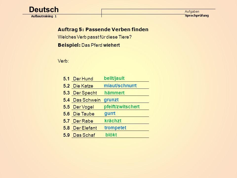 Deutsch Auftrag 5: Passende Verben finden