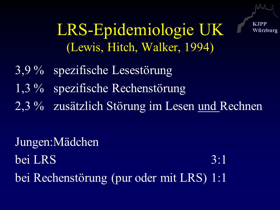 LRS-Epidemiologie UK (Lewis, Hitch, Walker, 1994)