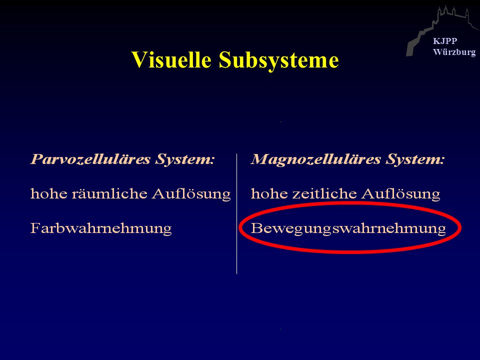 Visuelle Subsysteme The parvocellular system is responsible for ...