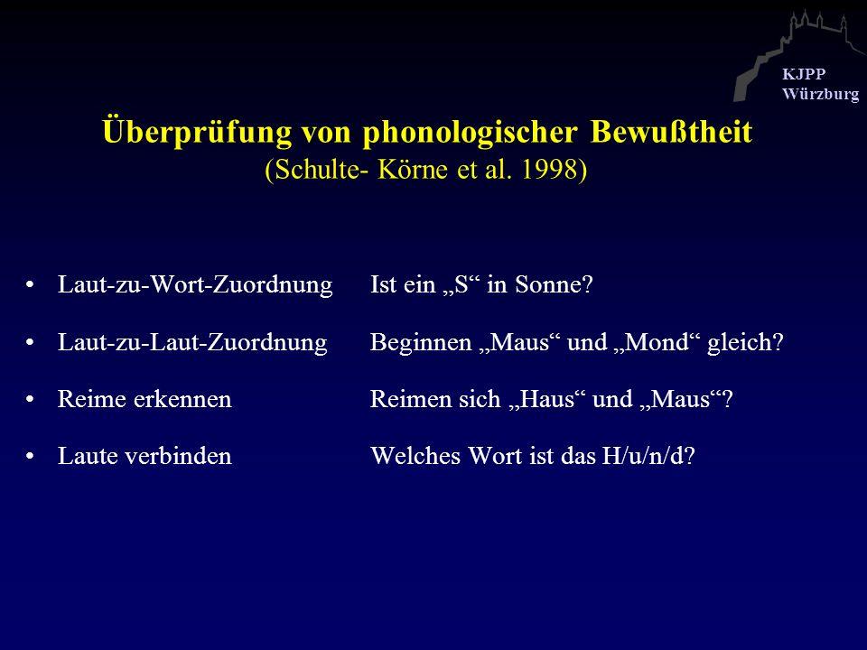 Überprüfung von phonologischer Bewußtheit (Schulte- Körne et al. 1998)