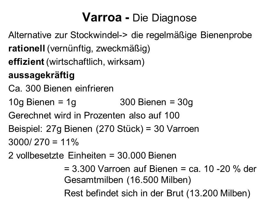 Varroa - Die Diagnose Alternative zur Stockwindel-> die regelmäßige Bienenprobe. rationell (vernünftig, zweckmäßig)