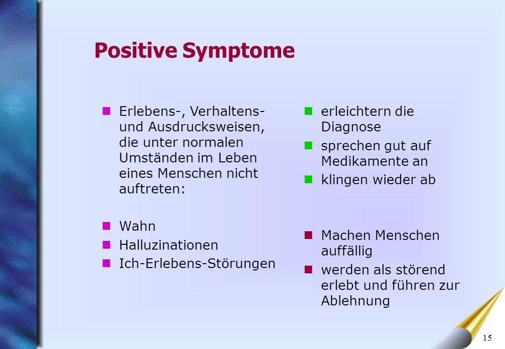 Positive Symptome Erlebens-, Verhaltens- und Ausdrucksweisen, die unter normalen Umständen im Leben eines Menschen nicht auftreten: