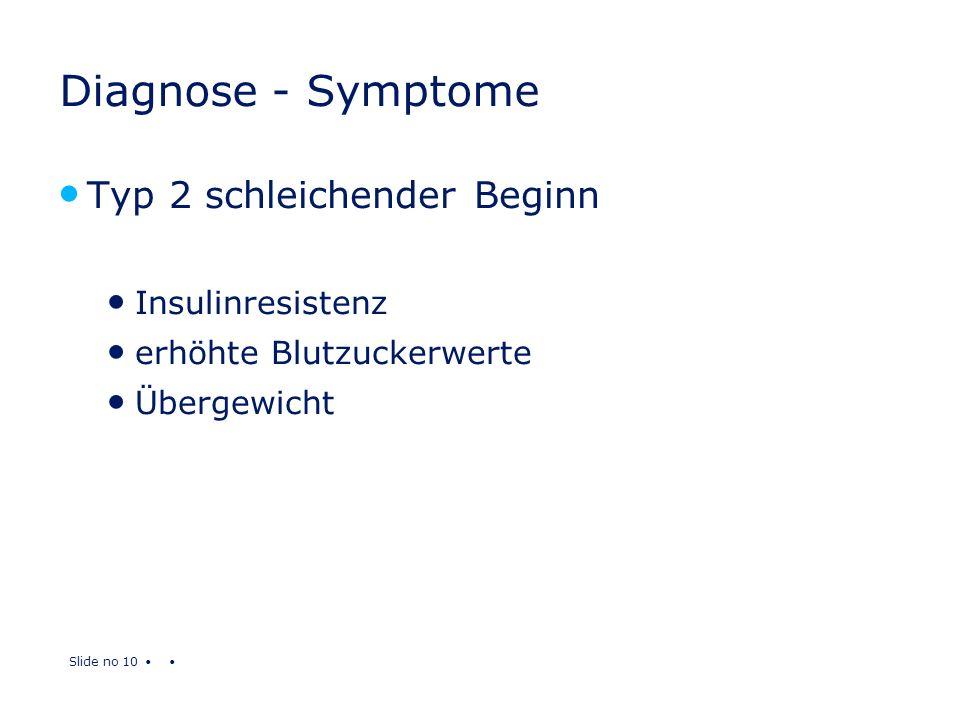 Diagnose - Symptome Typ 2 schleichender Beginn Insulinresistenz