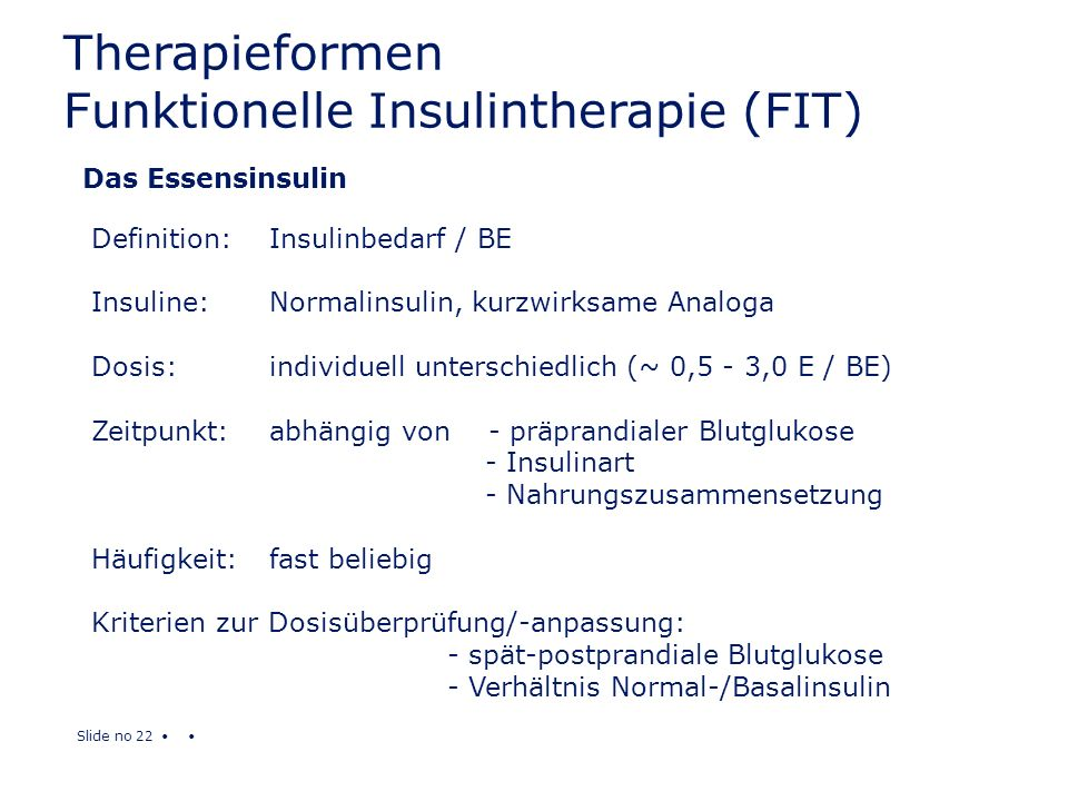 Therapieformen Funktionelle Insulintherapie (FIT)