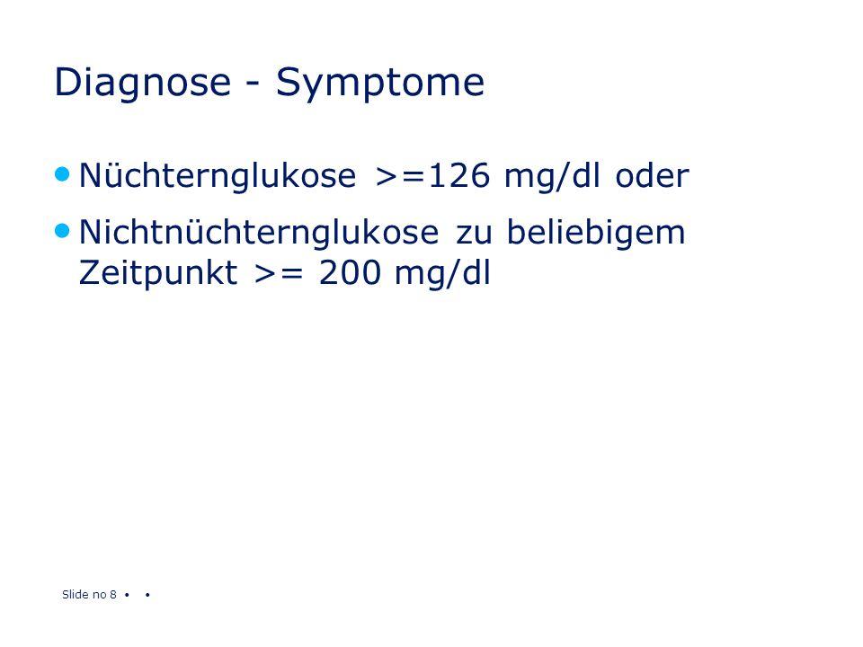 Diagnose - Symptome Nüchternglukose >=126 mg/dl oder