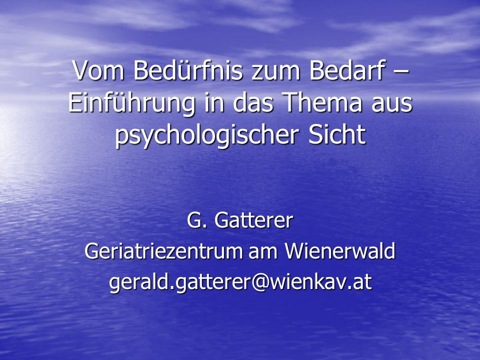 G. Gatterer Geriatriezentrum am Wienerwald gerald.gatterer@wienkav.at