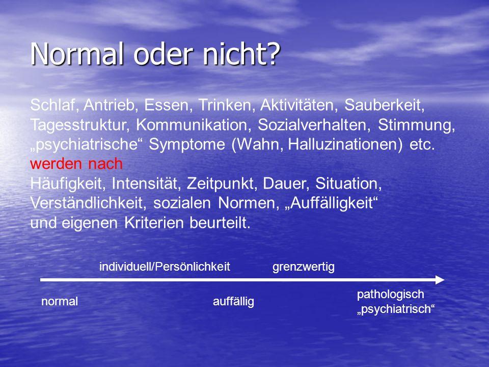 Normal oder nicht Schlaf, Antrieb, Essen, Trinken, Aktivitäten, Sauberkeit, Tagesstruktur, Kommunikation, Sozialverhalten, Stimmung,