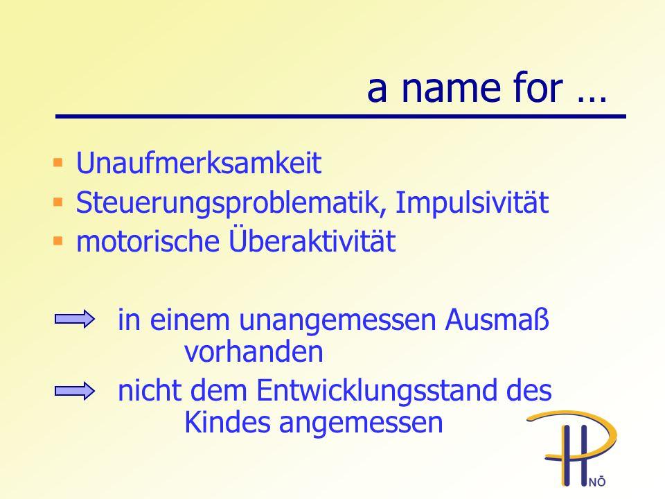 a name for … Unaufmerksamkeit Steuerungsproblematik, Impulsivität