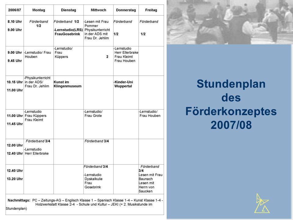Stundenplan des Förderkonzeptes 2007/08