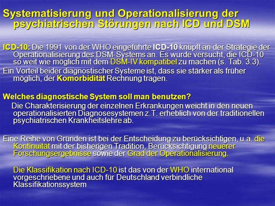 Systematisierung und Operationalisierung der psychiatrischen Störungen nach ICD und DSM